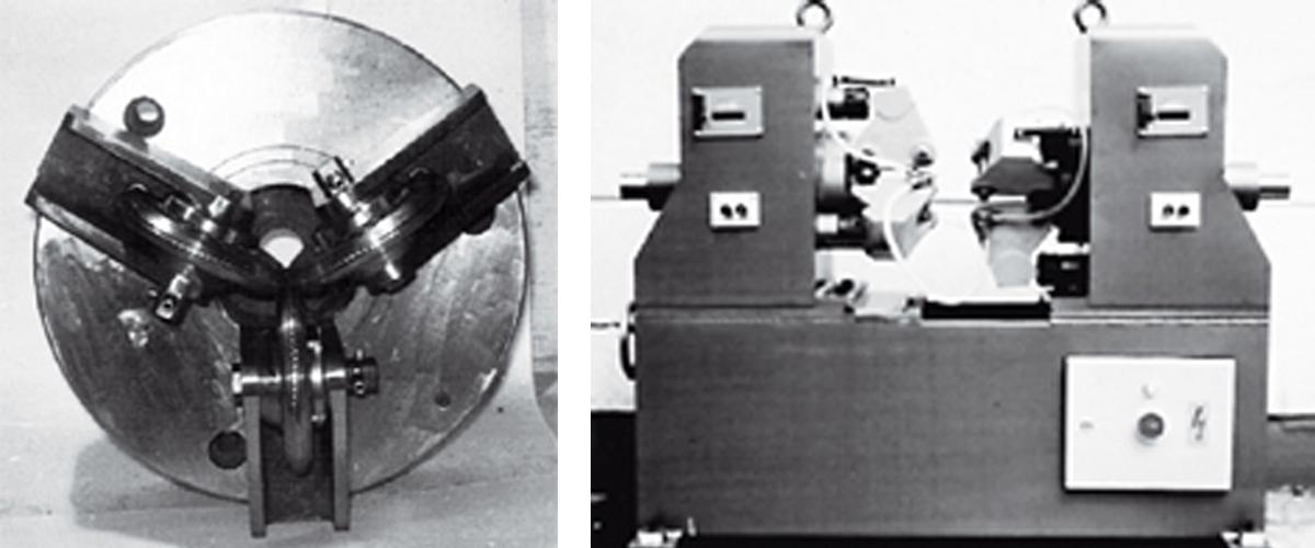 Historisches Walzgerüst für Hartmetallwalzenmit elektrischer Verstellung